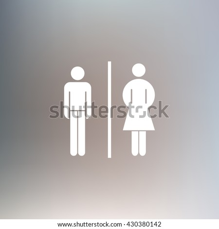 Vector man and woman icons, toilet sign, restroom icon, minimal  #430380142