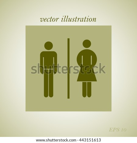 Vector man and woman icons, toilet sign, restroom icon, minimal  #443151613