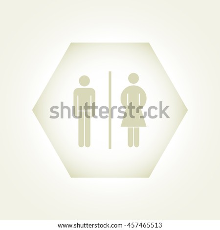 Vector man and woman icons, toilet sign, restroom icon, minimal  #457465513