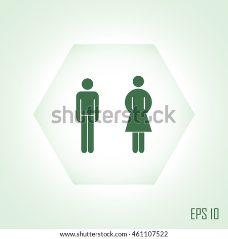 Vector man and woman icons, toilet sign, restroom icon, minimal  #461107522
