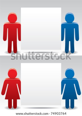 vector man and woman symbols holding blank paper for your text