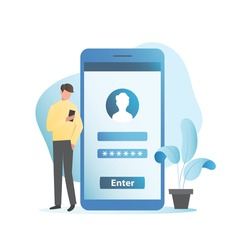Vector man enters password and registration data to enter application, website on  Internet. Sign in to your account. Guy fills in personal data online in social networks on smartphone, mobile phone.
