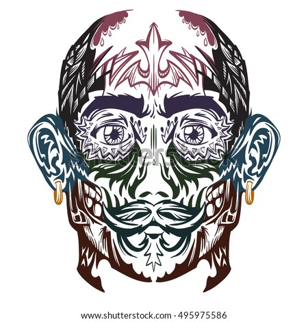 vector man face with tattoo