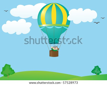 vector man flying in a balloon