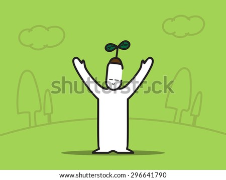 vector   man hand up with plant