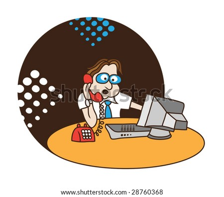 Vector Man Looking At Computer Screen And Speaking On The Phone