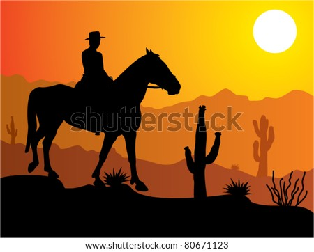 vector man on the horse in desert at sunrise or sunset