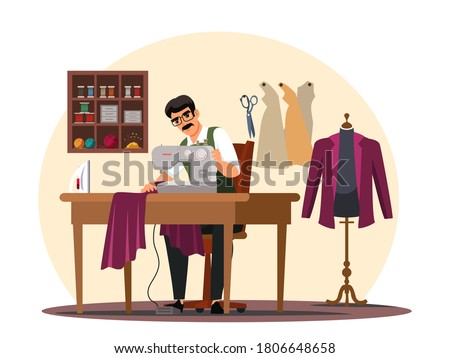 Vector man tailor sitting at table and sewing on machine at atelier studio workshop. Tailoring industry dressmaking tool. Fashion designer profession and job occupation. Clothing creation Stockfoto ©