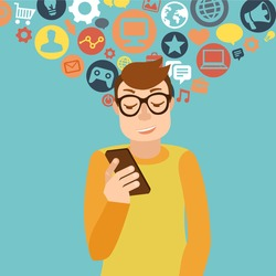 Vector man wearing glasses in flat style - smartphone addiction concept