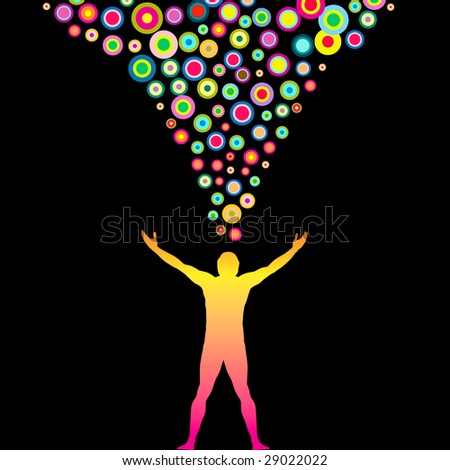 Vector Man with outstretched arms and Colorful thoughts - stock vector