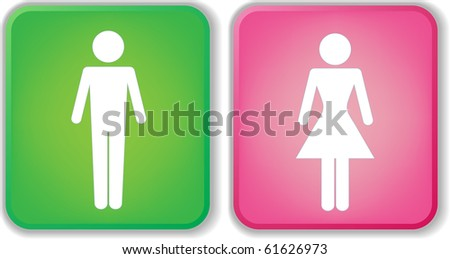 Vector Man & Woman icon over green and pink  background