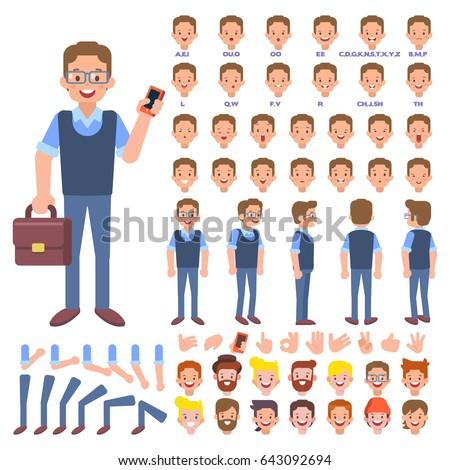 Vector manager character for your scenes. Character creation set with various views, hairstyles, face emotions, lip sync, poses and gestures. Parts of body template for animation and design.