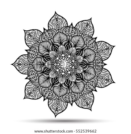 Vector Mandala for coloring book. Decorative round ornament. Anti-stress therapy pattern. Weave design element. Yoga logo, background for meditation poster. Unusual flower shape oriental line vector.