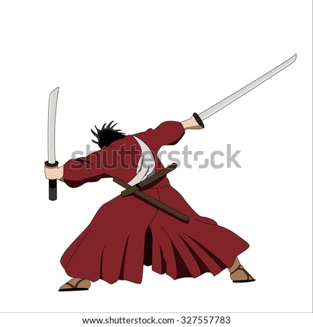 vector manga style samurai with