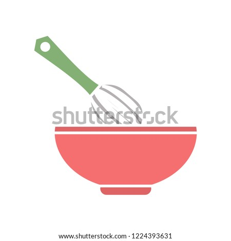 vector manual mixer. Flat illustration of cooking equipment kitchen tool isolated on white background. hand mixer in bowl  sign symbol. kitchen icon
