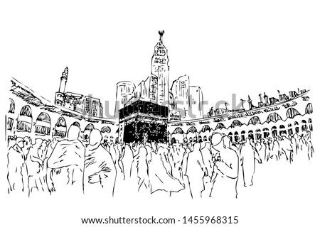 Vector Manual sketch of Kaaba with islame people, muslim & muslimah doing thawaf at Mecca Saudi Arabia at white background