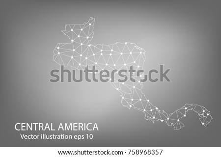 Vector map - Abstract mash,polygonal line and scales on dark background with map of Central America. Wire frame 3D mesh polygonal network line,Vector illustration eps 10.