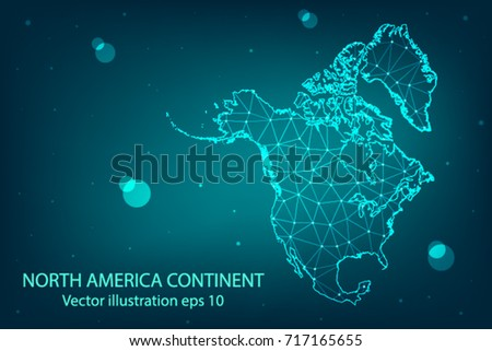 Vector map - Abstract mash,polygonal line and scales on dark background with map of North america. Wire frame 3D mesh polygonal network line,Vector illustration eps 10.