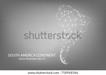 Vector map - Abstract mash,polygonal line and scales on dark background with map of South America Continent. Wire frame 3D mesh polygonal network line,Vector illustration eps 10.