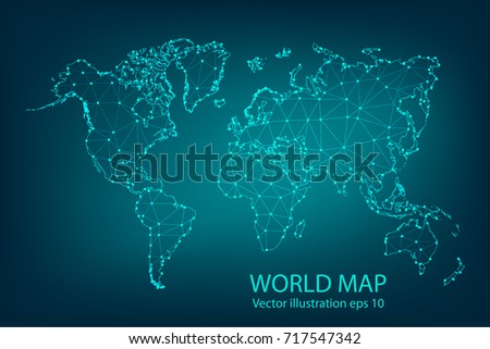 Digital technology earth world map on blue background with dots vector map abstract mashpolygonal line and scales on dark background with map of gumiabroncs Gallery