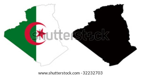 vector map and flag of Algeria with white background.