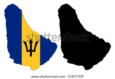 vector map and flag of Barbados with white background.