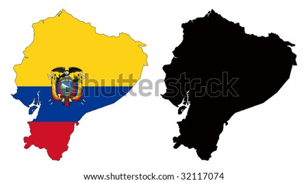 vector map and flag of ecuador with white background.