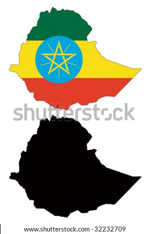 vector map and flag of Ethiopia with white background.