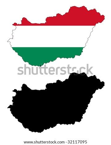 vector map and flag of Hungary with white background.