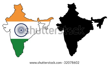 vector map and flag of India with white background.