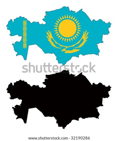 vector map and flag of Kazakhstan with white background.