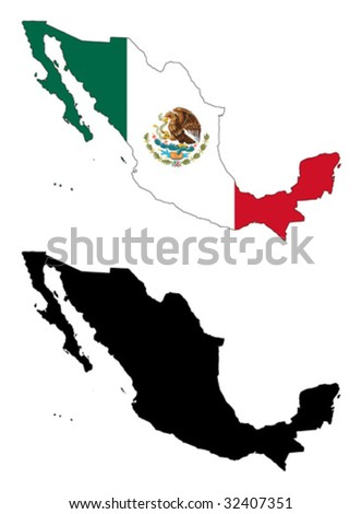 vector map and flag of Mexico with white background.
