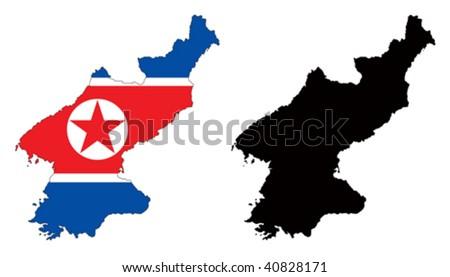 north korea flag. north korea flag pole.