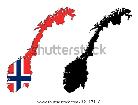 vector map and flag of Norway with white background.