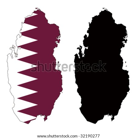 vector map and flag of Qatar with white background.