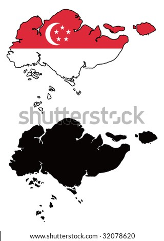 Vector Images Illustrations And Cliparts Vector Map And Flag Of - Singapore map vector