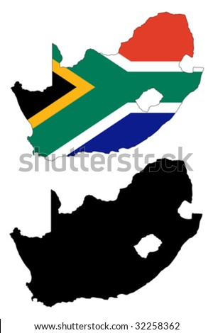 vector map and flag of South Africa with white background.