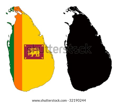 vector map and flag of Sri Lanka with white background.