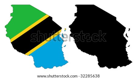 vector map and flag of Tanzania with white background.