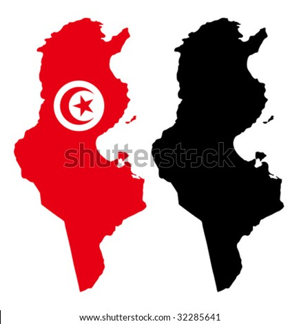 vector map and flag of Tunisia with white background.