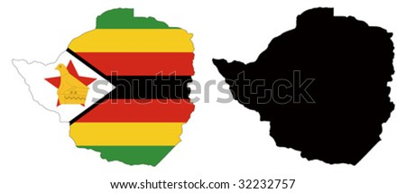 vector map and flag of Zimbabwe with white background. - stock vector