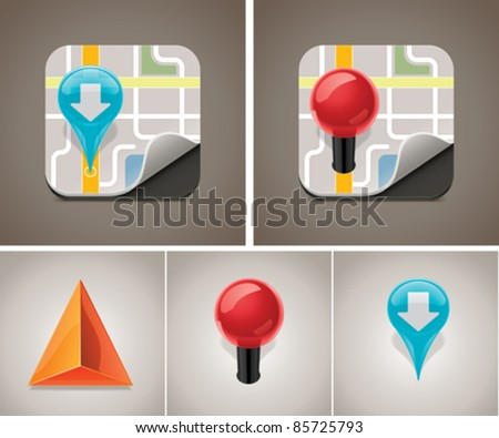 Vector map and GPS navigation icon set