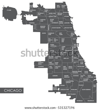 vector map chicago district