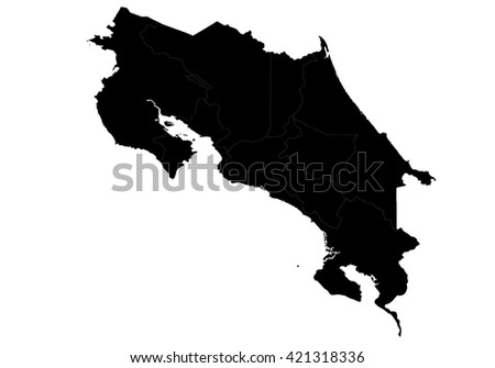 Vector map-costaRica country on white background.