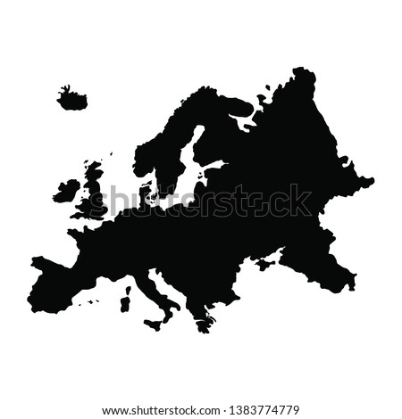 Vector map Europe. Isolated vector Illustration. Black on White background. EPS 10 Illustration.