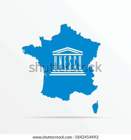 Vector map France combined with United Nations Educational, Scientific and Cultural Organization (UNESCO) flag. Foto stock ©