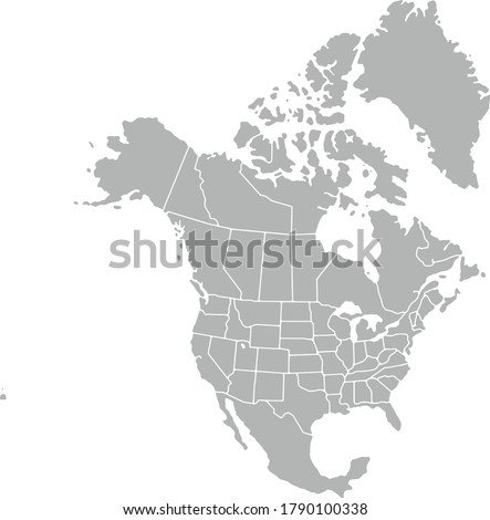 Vector Map gray icon of North America isolated on white background. Stock photo ©