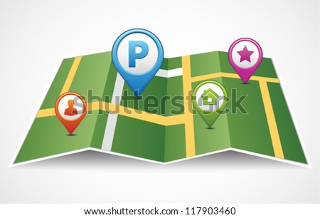 Vector map icon with with Pin Pointer and different symbols