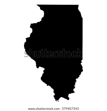vector map illinois isolated