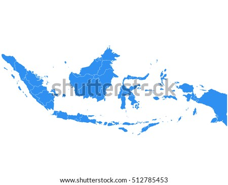 Vector map Indonesia. Isolated vector Illustration. Black on White background